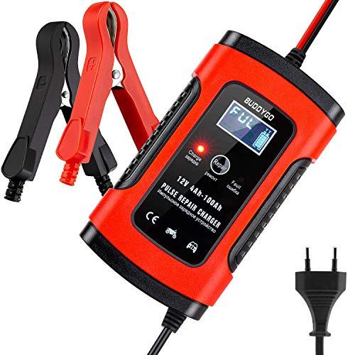 BUDDYGO Batterie Ladegerät Auto, 6A 12V Vollautomatisches Batterieladegerät Auto Erhaltungsladegerät mit LCD Mehrfachschutz für Autobatterie, Motorrad, Rasenmäher oder Boot