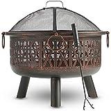 VonHaus Feuerkorb/Feuerschale mit geometrischem Design aus dekorativem schwarzem Stahl mit Funkenschutz und Schürhaken – Kohlebecken & Terrassenofen