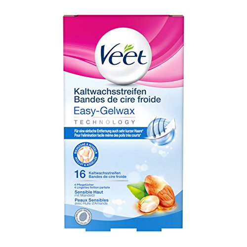 Veet Kaltwachssstreifen Easy-Gelwax Technology  für die Bikinizone & Achseln für sensible Haut, 16 Stück