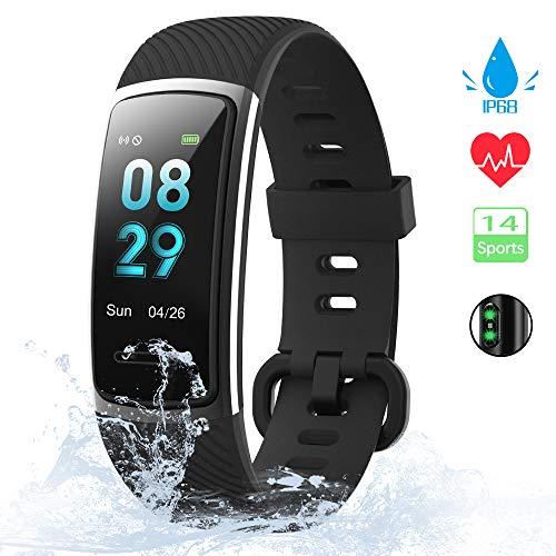 KUNGIX Fitness Armband, 0,96 Zoll Schrittzähler Uhr IP68 Wasserdicht Smartwatch Fitness Tracker mit Pulsmesser Herzfrequenz 14 Modi Smart Watch für Damen Herren iOS Android Kompatibel(Schwarz)