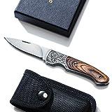 Love-KANKEI T02 Klappmesser Edelstahl Taschenmesser, Gürtelmesser mit Holzgriff und Gürtel-Nylonhülle, Klingelänge 6,5cm, ideal für Outdoor und Indoor