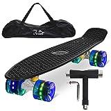 Feldus 22' Retro Skateboard Komplett Fertig Montiert mit Tasche und T-Tool (Deck Schwarz/ LED Räder in Blau)