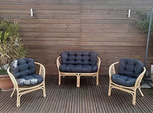 Mayaadi Home Gartenbankauflagen 6 teiliges Sitzkissen-Set Sitzpolster für Gartengarnitur Set Steve Dunkelgrau JCG1