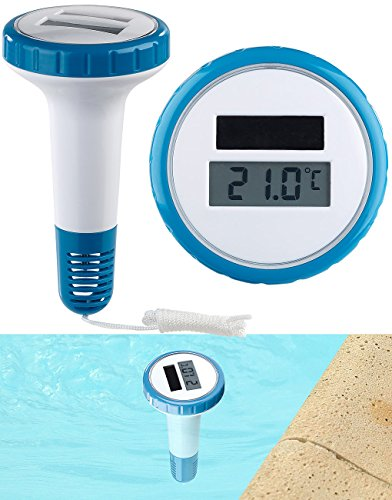 FreeTec Pool Thermometer: Digitales Solar-Teich-& Poolthermometer, LCD-Anzeige, wasserdicht IPX7 (Solar-Thermometer)