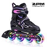 2pm Sports Verstellbar Inliner für Kinder, Leucht Inline Roller Skates Rollschuhe für Damen/Herren (Violet, Medium(33-36EU))