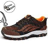 SUADEX Damen Herren Sicherheitsschuhe Sportlich Trekking Wanderhalbschuhe Stahlkappe Arbeitsschuhe Hiking Schuhe Traillaufschuhe  39 EU,  04-orange