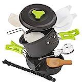 EXTSUD Camping Kochgeschirr Campinggeschirr Ultraleicht Picknick 12-Teilig Cookware Kit mit feuersteine Armbänder und Kartenmesser für Outdoor Reise Camping 1 Person FDA Zertifiziert MEHRWEG