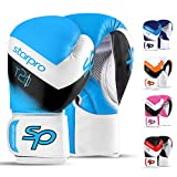 Boxhandschuhe Muay Thai Boxsack Training 8oz 10oz 12oz 14oz 16oz Sparring Kickboxen Sandsack Maya Hide Leder Boxing Gloves (Blue/White, 8oz)