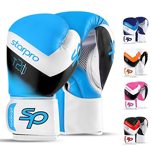 Boxhandschuhe Muay Thai Boxsack Training 8oz 10oz 12oz 14oz 16oz Sparring Kickboxen Sandsack Maya Hide Leder Boxing Gloves (Blue/White, 8oz)