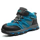 Winterschuhe Kinder Warm Gefüttert Trekking Wanderschuhe Winter Stiefel mit Klettverschluss für Jungen -32 EU-Blau
