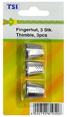 TSI Fingerhut, Metall, Silber 1.7 x 1.8 x 1.8 cm, 3-Einheiten