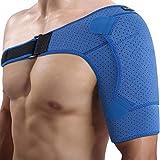 Doact Neopren Verstellbare Schulterbandage für Verletzungsprävention, verschobenes AC-Gelenk, gefrorene Schulterschmerzen, arthritische Schultern, passt für beide linke rechte Schulter (L/XL)