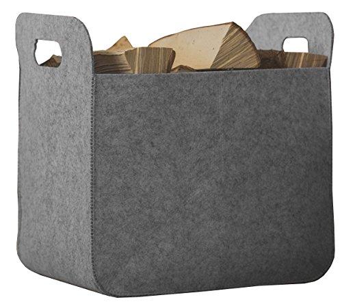 Rubberneck Filzkorb Aufbewahrungskorb mit Griffen, Eckig, Maße 25 x 35 x 35 cm (Grau)