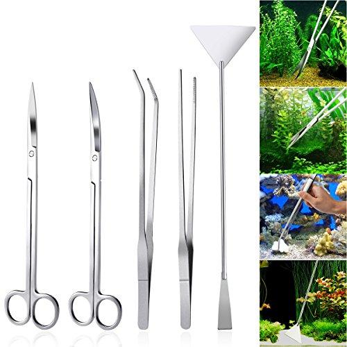 UEETEK 5 in 1 Edelstahl Aquarium Aquascaping Kit Aquarium Tank Aquatic Pflanze Werkzeuge Sets Pinzette Scissor Spatel