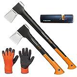 FISKARS Set Spaltaxt X25 - XL + X11 - S + Xsharp Axt- und Messerschärfer + Handschuhe