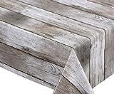 Beautex Holz beige Wachstuch Tischdecke glatt abwischbar Garten Tischdecke RUND OVAL ECKIG, Größe wählbar