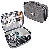 BUBM Mehrfachfunktion Kabelorganiser Tasche Reisetasche mit Doppelschichten für Elektronische Zubehöre wie Netzteil, Maus und USB Stricks(Mittel, Denim Grau)