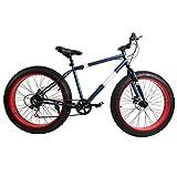 Ridgeyard 26 Zoll 7-Geschwindigkeit Mountainbike Fettbike Fat Bike Strand Fahrrad Fat Tire Shimano (Navy Blue)