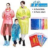GINMIC Regenponcho Einweg, Regen Poncho Familienpackung Mit Kapuze - 6 Stück für Erwachsene und 6 Stück für Kinder für Fahrradfahren, Camping, Ihre Freizeit
