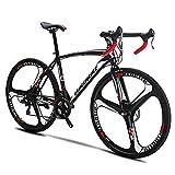Extrbici XC550 Rennrad 21 Geschwindigkeit 49 cm / 54 cm Rahmen 700C Räder Rennrad Doppelscheibenbremse Fahrrad (XC550-49CM-K Wheel)