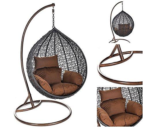 Home Deluxe Polyrattan Hängesessel Cielo, inkl. Gestell, Sitz- und Rückenkissen