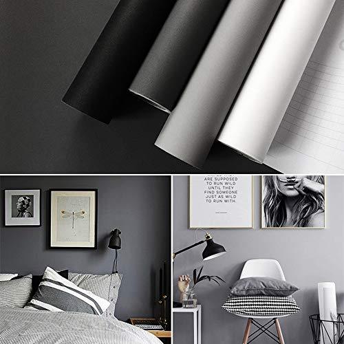 Hode Tapete Selbstklebend Grau für Wand, Tür, Möbel,Wasserfest Aufkleber für Mauer Selbstklebende Folie Vinyl Dekofolie