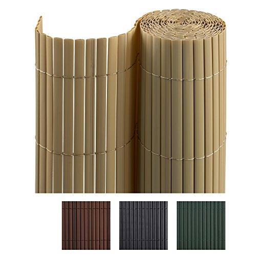 Jarolift PVC Sichtschutzmatte/Sichtschutzzaun für Garten, Balkon und Terrasse, 90 x 300 cm, bambus