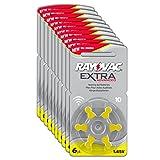 Rayovac Extra Advanced Zink Luft Hörgerätebatterie in der Größe 10 Pack (mit 60 Batterien geeignet für Hörgeräte Hörhilfen Hörverstärker) gelb