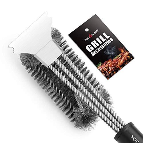 Puaida Grillbürste mit Spatel, 3 in 1 Lanlebig Edelstahl BBQ Grill Bürste, Lang Griff Grillzubehör für Holzkohle-Grill Gas-Grill und Elektro-Grill
