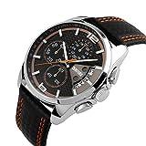 Mode Sport Herrenuhren - Luxus Leder Armband Sub-Dials Chronograph Stoppuhr Kalender Datum 30M Wasserdicht Quarzuhr Armbanduhren für Männer, Orange