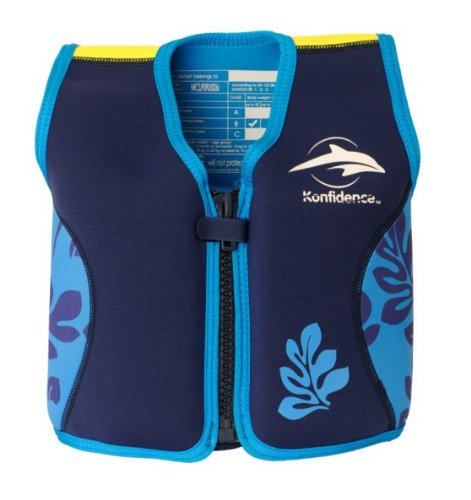 Ideen rund ums Kind Kinder-Schwimmweste 4J-BB-138 aus Neopren, Blaue Blätter, Größe: 16-21 kg (4-5 Jahre), Brustumfang 61 cm