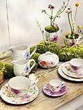 Villeroy & Boch Mariefleur Basic Latte Macchiato-Kaffeebecher / Weiße Porzellantasse mit Blumenmuster in zartem Rosa / 1 x Kaffeetasse mit 480 ml Fassungsvermögen
