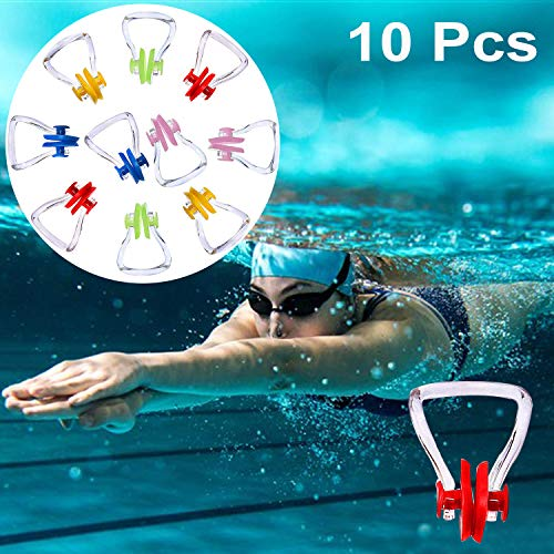 Bezzee-Pro Schwimmen Nase Clip (10 Stück) - Nasenklammer aus Silikon, Nasenschutz für Schwimmtraining, Erwachsene und Kinder - Perfektes Set zum Training, Wettkämpfe & Anfänger (5 Farben)