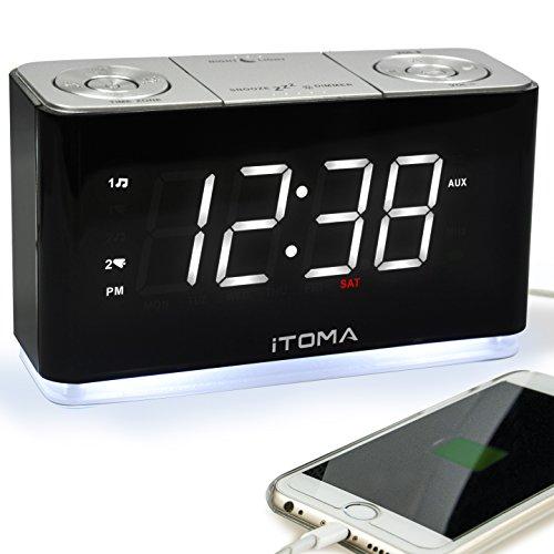 Radio-Wecker, FM Digital-Funkuhr Bedside Wecker mit Nachtlicht, Dual-Alarms, Dimmer Steuerung, 1,4-Zoll große weiße LED-Anzeige, USB-Lade-Auxiliary-Eingang Backup-Batterie (iTOMA CKS507)