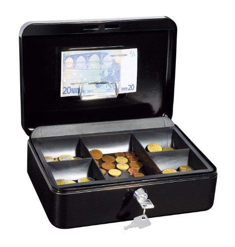 Wedo 145321H Geldkassette (aus pulverbeschichtetem Stahl, versenkbarer Griff, Geldnoten- und Belegeklammer, 5-Fächer-Münzeinsatz, Sicherheits-Zylinderschloss, 25 x 18 x 9 cm) schwarz