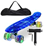 Feldus 22' Retro Skateboard Komplett Fertig Montiert mit Tasche und T-Tool (Deck LED Blau/ LED Räder in 4 Farben)