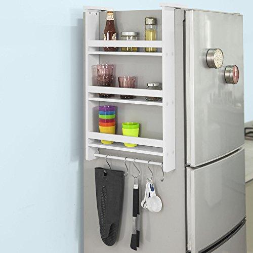 SoBuy Hängeregal für Kühlschrank mit 5 Haken, Türregal, Badregal, Küchenschrank mit 3 Ablagen, FRG150-W
