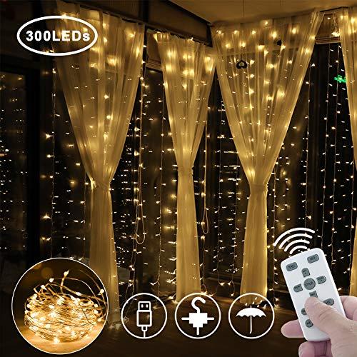 Greatever Lichtervorhang, 2019 Neuestes USB String Light 300 LEDs Lichterkettenvorhang Kupfer 3M*3M IP65 Lichterketten Wasserdicht 8 Modi Warmweiß für Weihnachten Party Innen und Außen Deko