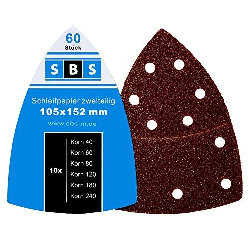 60 Stück SBS Klett Schleifblätter 105 x 152mm 10x je Korn 40/60/80/120/180/240 für Multischleifer