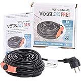Frostschutz Heizkabel mit Knopf-Thermostat VOSS.eisfrei 1m 2m 4m 8m 12m 14m 18m 24m 37m 49m, 230V, Heizleitung Zum Schutz von Wasserleitungen und Weidetränken
