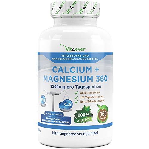 Calcium + Magnesium - 360 Tabletten - 1200 mg pro Tagesportion - Kalzium + Magnesium-Komplex im Verhältnis 2:1 - Muskeln + Blut + Nerven + Knochen + Zähne - Vit4ever