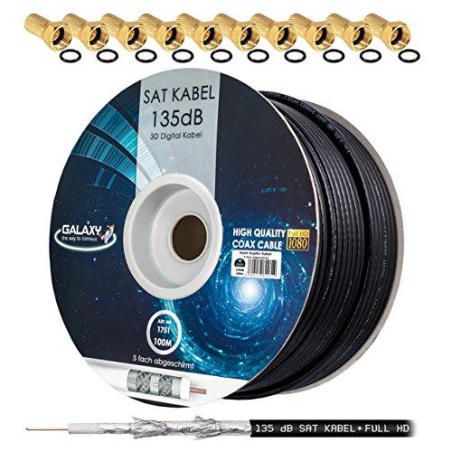 135dB 100m HB DIGITAL Koaxial SAT Kabel 5-fach geschirmt Schwarz für Ultra HD 4K DVB-S / S2 DVB-C und DVB-T BK Anlagen + 10 vergoldete F-Stecker SET Gratis dazu