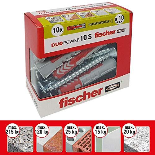 Fischer-Dübel Duopower mit Schraube, grau, 544018