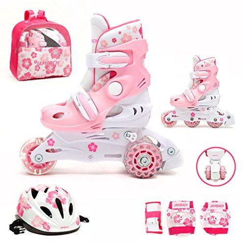 Kinder Inliner Inline Skates für Anfänger verstellbar Set Triskates mit Schutzset Helm Rucksack Rollschuhe Mädchen Jungen (XS (26-29), rosa)
