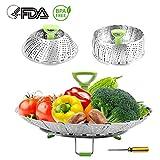 Dünsteinsatz Edelstahl Kitchen Dämpfeinsatz für Koch-Töpfe von 18cm - 28cm stufenlos verstellbarer Dampfgarer zum Gemüsedämpfer BPA-frei rostfrei geeignet für Baby-Nahrung,Silber