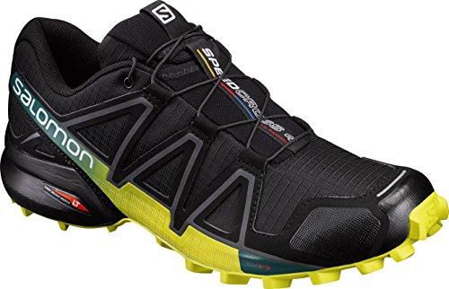 Salomon Speedcross 4 Herren Trailrunning-Schuhe, Schwarz (Black/Everglade/Sulphur Spring), 44 EU