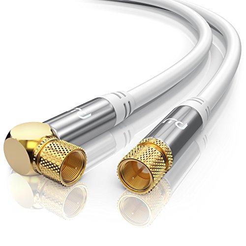 CSL - 1,5m 135dB HDTV Satellitenkabel 75 Ohm (90° gewinkelt) | Premium SAT Koaxialkabel | DVB-S, DVB-S2 und Kabelinternet | Abschirmmaß 135db | hochdichte 4-fach Schirmung | weiß / silber