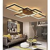 LED Deckenleuchte Modern Dimmbar Fernbedienung Lampen Deckenlampe Einfache Stil Eckig Designer Wohnzimmerlampe Metall Acryl Schirm Flur Badlampe Wohnzimmer Esszimmer Büro Deko Leuchten (L110cm)