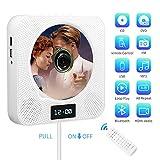 Tragbarer CD Player,Bluetooth Wand montierbar TV Musik HDMI,Player mit Fernbedienung eingebaute HiFi-Lautsprecher für Kinder/FM-Radio, unterstützt USB/MP3/3,5 mm Kopfhörerbuchse/Geschenk (Weiß)