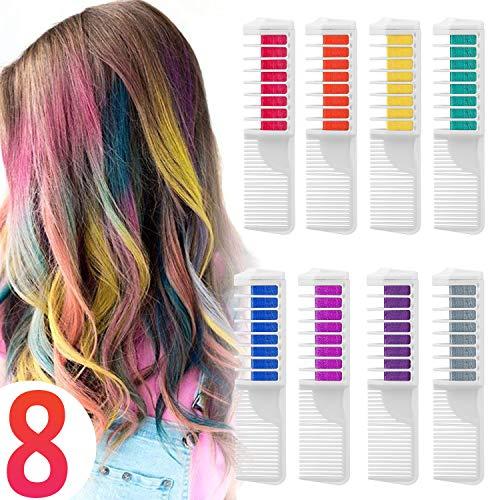 Haarfarbe Kamm Temporär Haarfarbe Kreide Kamm, 8 Stück Instant Einmalige Haarekreide Kamm mit Handschuhe und Schal für Kinder Haarfärbemittel, Party und Cosplay